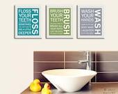 Kids bathroom wall art. Bathroom rules. Bathroom prints Wash Brush Floss Flush. Typography. SET OF 3 prints by WallFry