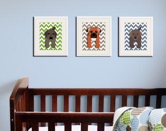Chevron Dog prints. Pick any 3 dogs. Baby nursery art, kids wall art. Dog nursery. SET OF 3 prints by WallFry