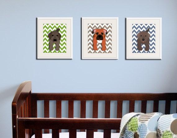Chevron Dog prints. Pick any 3 dogs. Baby nursery art, kids wall art. Dog nursery. SET OF 3 prints by WallFry