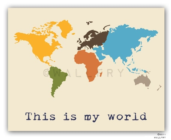 Kids Wall Art kids wall art. world map print childrens wall art. kid