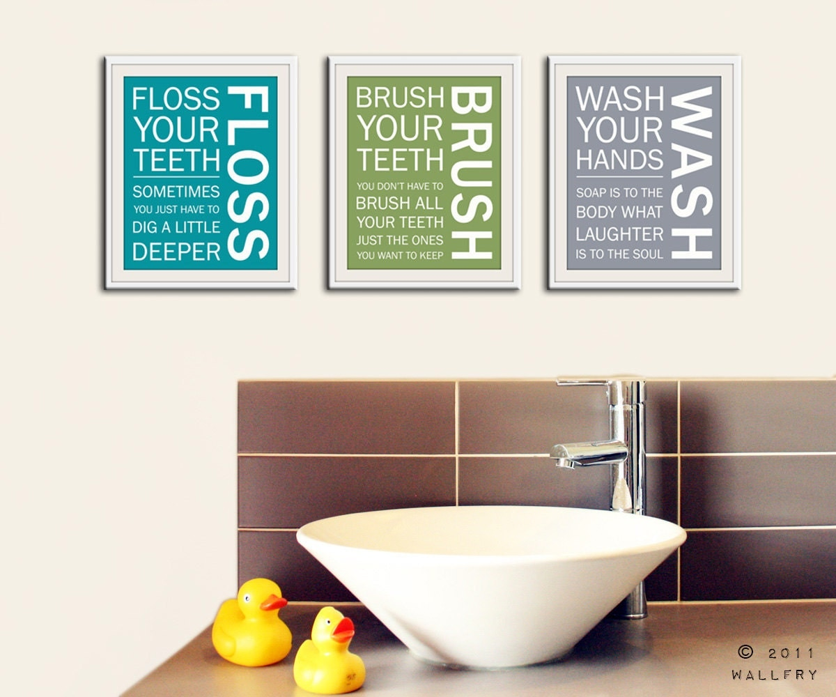 Kids bathroom wall art bathroom rules bathroom prints wash for Bathroom decor etsy