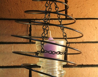 Hanging Candle Holder, Hemingray 17 Electric Insulator Candle Holder in Black Metal Spiral 5Z8F3