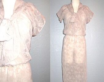 Vintage 60s dress DUSTY MAUVE rose print sheer ascot neck - M/L