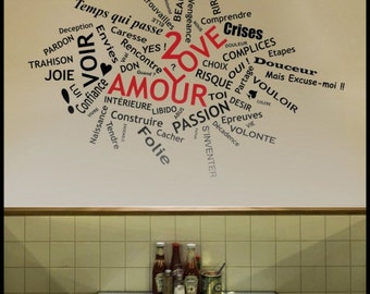 WORDS - WALL DECAL : Love Amour Tag cloud, French text about love relationship. Desire, Anger, Crises, Trust...