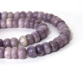 Lilac Stone Beads, 8mm rondelle natural lavender purple gemstone, Full & Half Strands Available  (674S)
