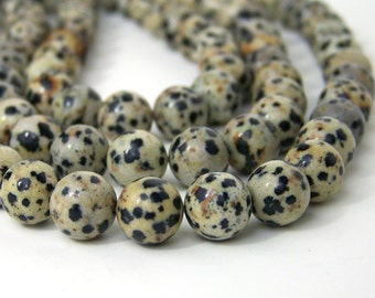 Dalmatian Jasper beads, 10mm round natural gemstone, full & half strands available  (586S)