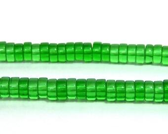 glass heishi beads, emerald green, 8mm x 5mm, FULL STRAND (650G)