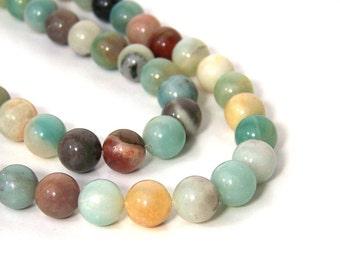 Flower Amazonite beads, 10mm Round Natural Gemstone, Full & Half Strands available  (706S)