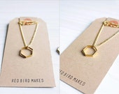 Minimalist Geometric Silver/Gold Hexagon Necklace