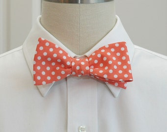 Men's Bow Tie in coral with white polka dots (self-tie)