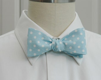 Men's Bow Tie, light blue bow tie, white polka dots, pastel bow tie, wedding bow tie, groom bow tie, groomsmen gift, prom bowtie,  pale blue