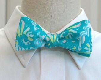 Men's Bow Tie, Lilly shorely blue Twirly, turquoise bow tie, wedding bow tie, groom bow tie, prom bow tie, groomsmen gift, Carolina Cup tie