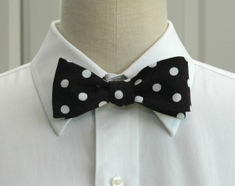 Men's Bow Tie in black with medium white polka dots (self-tie)