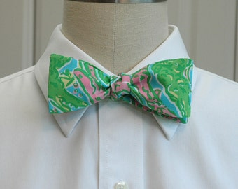 Men's Bow Tie, pink, green & aqua  Chomp Chomp Lilly abstract alligator print, wedding bowtie, groom bowtie, groomsmen gift, Florida bowtie,