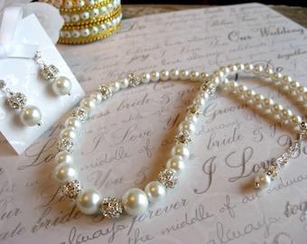 Swarovski Rhinestone and Pearl Bridal Wedding Necklace and Rhinestone Stud  Earring Set -Bride or Bridesmaid Jewelry Set/Wedding Jewelry