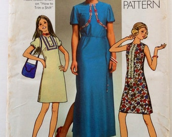 70s Simplicity 9473 Mini or Maxi Dress Simple to Sew Beginner  14 Bust 36