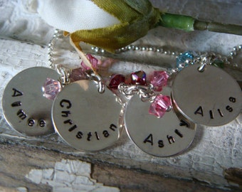 Grandmother's Necklace with 4 Sterling Silver Disks