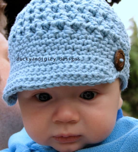 Crochet Baby Hat Baby Boy Hat Newsboy Cap With By