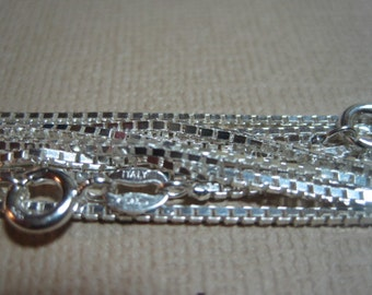 "Sterling Silver Box Chains 18"" - Supplies - 1.5 MM- Italian Chains- Lot of 4"