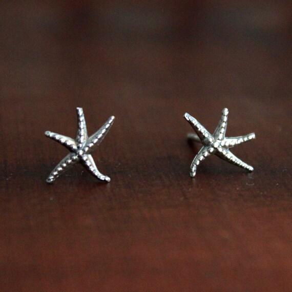starfish stud earrings in sterling silver by nauticalwheeler