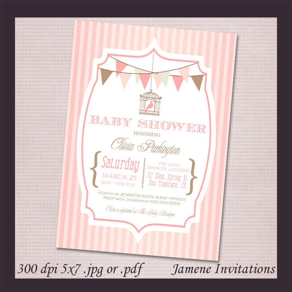Vintage Typography Baby Shower Printable Invitation - Print your own