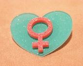 Venus Symbol Heart Pin