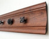 Wood Wall Organizer, Reclaimed Wood with Rare Knob Hardware, Eco Home Decor, brown, ornate knobs - upcycled wall hooks