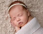 Ivory Halo- Ivory Newborn/Baby Halo- Newborn/Baby Tie Back- Skinny Headband- Newborn Headband
