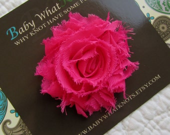 Pink Flower Hair Clip, Baby Shabby Chic Hair Clippies, Hot Pink Flower Barrette