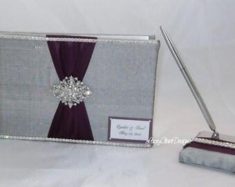 Wedding Guest Book and Pen Set Bling Guest Book - Custom Made