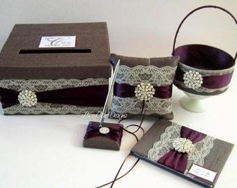 Wedding Card Box Set, Ring Pillow/Flower Girl Basket and Guest Book- Custom made
