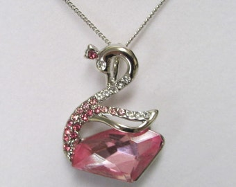 Fashion Jewelry- Beautiful Pink Faceted Crystal Glass With White Crystal rhinestone Swan Rhodium Plated Necklace