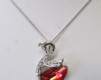 Fashion Jewelry- Beautiful Light Red,Red Swan Shape Faceted  Crystal Glass Rhodium Plated necklace