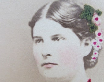 Antique Photo CDV Girl of Wautoma, Wisconsin  - Flowers in her Hair