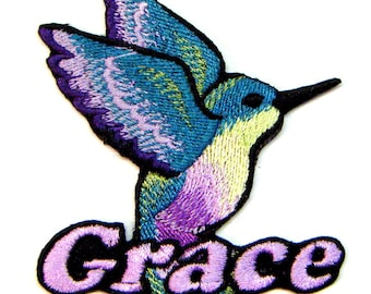 Iron on Patch Hummingbird Name Personalized Free