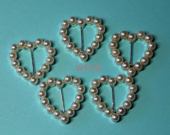 "Pearl Heart  Ribbon Slides - Pearl Buckles - 5/8"" Ribbon Slides - Wedding Invitation Embellishment - Set of 1, 2 or 5"