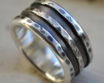 mens wide band ring - rustic oxidized fine silver and sterling silver ring - handmade artisan designed wedding band - customized