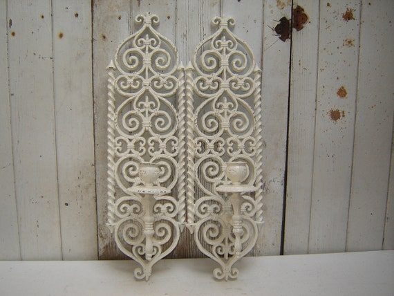 Wall Sconces That Look Like Candles : ornate candle wall sconces looks like by WendysVintageShop