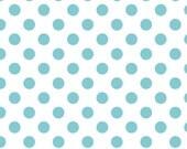 Crib Sheet, dot crib sheet, white with aqua polka dot crib sheet, baby crib sheet