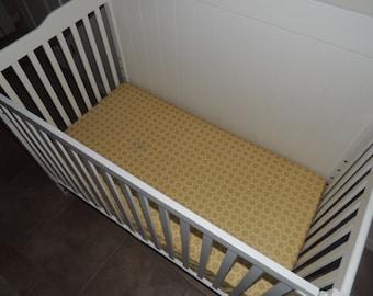 SALE- Crib Sheet, dot crib sheet,  yellow, brown and gray  crib sheet, Ships Today