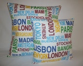 "BIG and Small Pillows Funky Retro Metro Cities Designer Cushion Pillow Covers Pillowcases Shams Slips. PAIR 22"" & 16"""