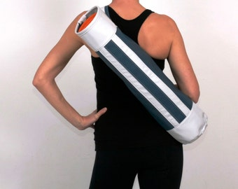 Closeout Sale- Yoga Bag- Urban Gear in Blue and White- Swank