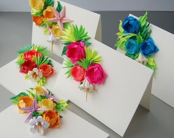 Roses Origami Greeting Cards: Set of 5, Mother's Day Cards, Easter Cards