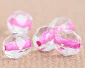 Day Dreamer Czech Glass Beads - Hot Pink Lined Faceted Rounds - (6mm) x 10