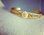 Grecian Olive Leaf Cuff Bracelet with Vintage Rose Cabochon