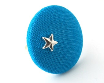 24 COLORS Large star ring - big fabric ring - large fabric button ring - customizable - simple adjustable fabric covered