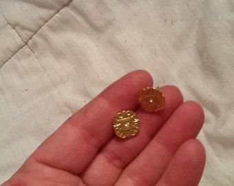 Vintage Embossed Gold and Rhinestone Earrings Elegant