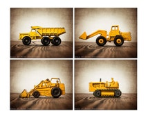 Set of Four Construction Digger Photo  Prints, BullDozer, Dump Truck, Tractor on Vintage Brown Background, Boys Room decor,