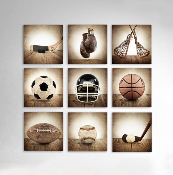 Vintage Square Sports Collection Set Of Nine Canvases Ready