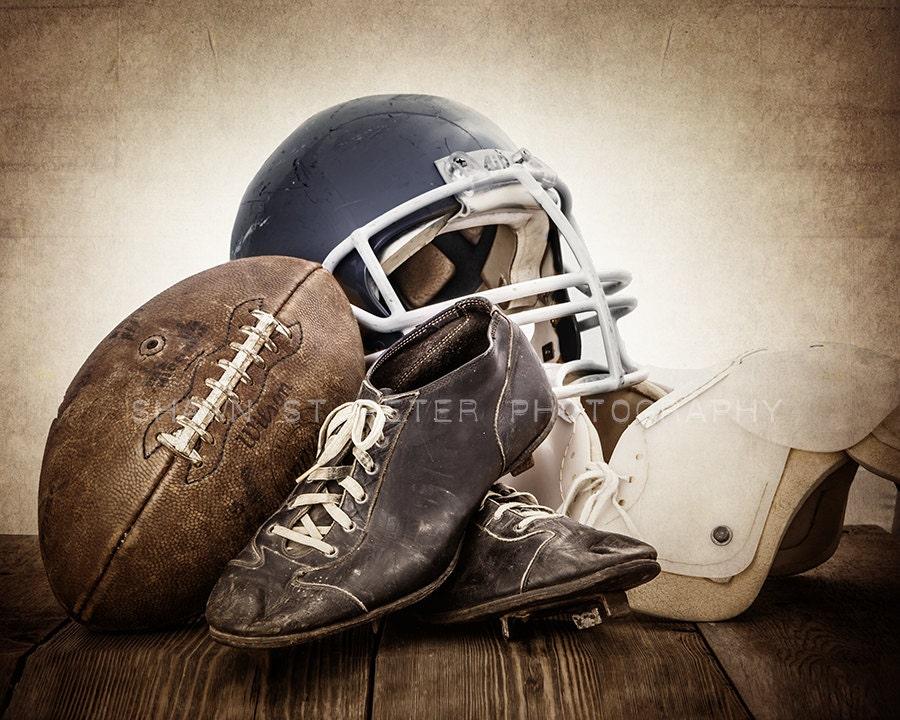 Vintage Football Gear Navy Blue Helmet Photo Print Wall